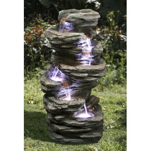6 Rock Fall Resin Water Feature With Light By Sol 72 Outdoor