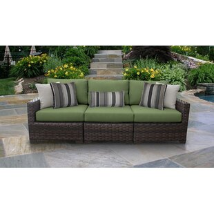 kathy ireland Homes & Gardens River Brook 3 Piece Outdoor Wicker Patio Furniture Set 03c by TK Classics
