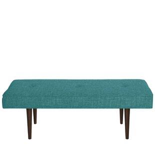 Foweler Tufted Woven Linen Upholstered Bench by Brayden Studio