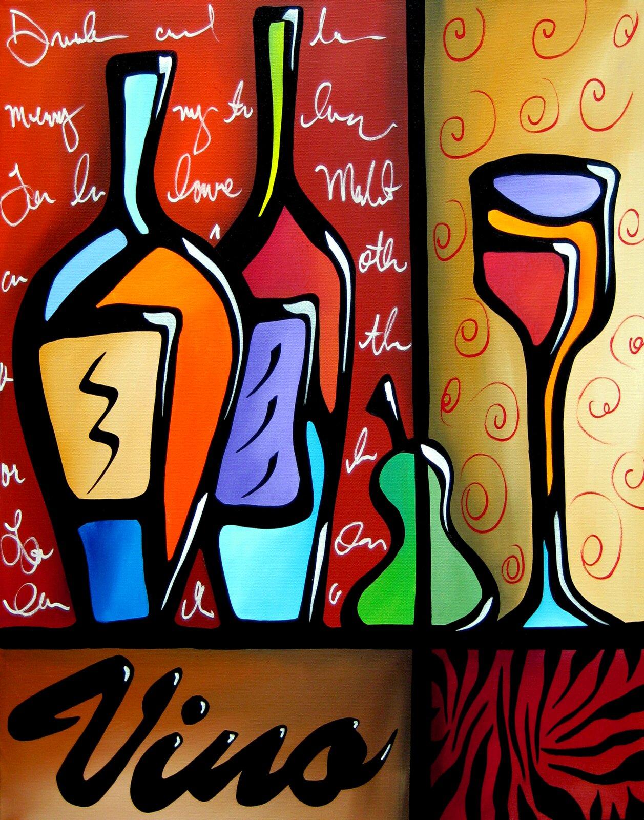 Wine Wall Decorations - 'Vino Wine' Acrylic Painting Print