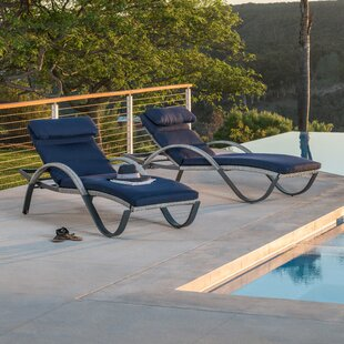 Wade Logan Castelli Chaise Lounge with Cushion (Set of 2)