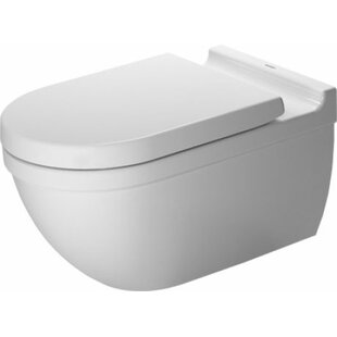 Duravit Starck 3 Dual-Flush Elongated Wall Mounted Toilet with Glazed Surface (Seat Not Included)