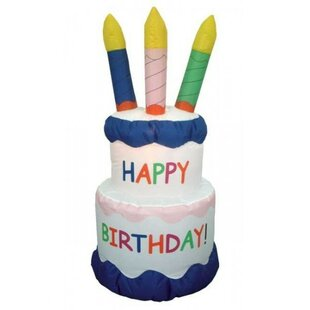 Inflatable Cake With Candles Happy Birthday Decoration by BZB Goods