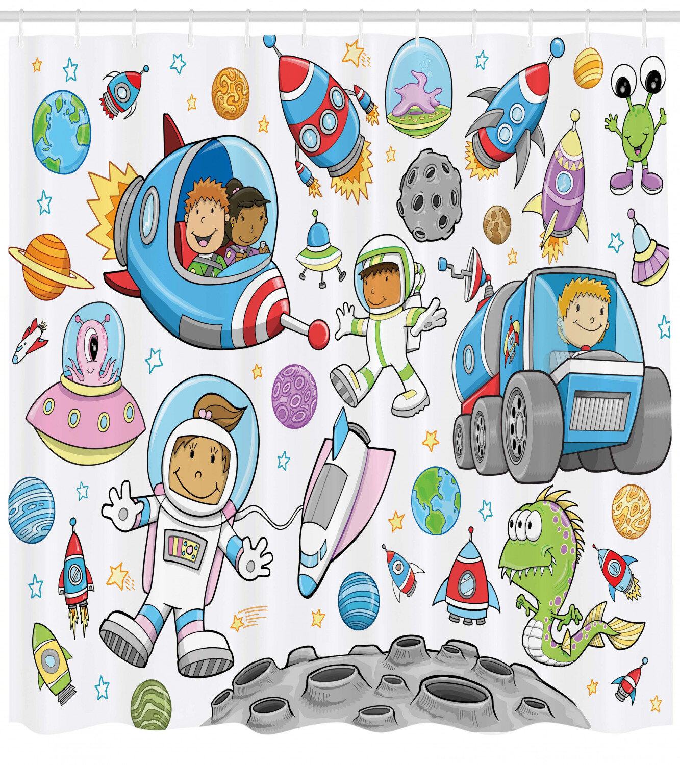 70 Inches Ambesonne Space Shower Curtain Almond Green Cute Cartoon Sun and Planets of Solar System Fun Celestial Chart Baby Kids Nursery Theme Cloth Fabric Bathroom Decor Set with Hooks