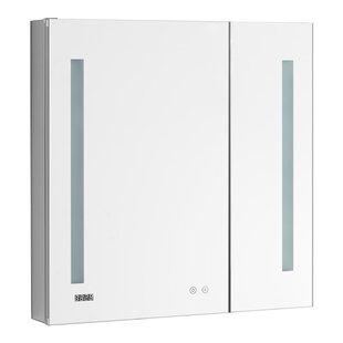 Gwinnett 36 x 40 Recessed or Surface Mount Frameless Medicine Cabinet with 4 Adjustable Shelves and LED Lighting by Orren Ellis