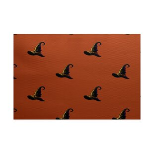 Witches Brew Holiday Print Orange Indoor/Outdoor Area Rug