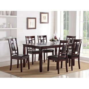 Chun Modish Rubberwood 7 Piece Solid Wood Dining Set Red Barrel Studio
