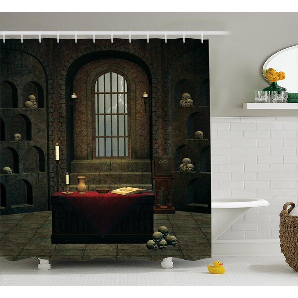 Halloween Haunted Library Shower Curtain Liner Bathroom Waterproof Fabric Hooks