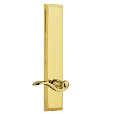 "Fifth Avenue Tall Plate Privacy Door Lever Grandeur Finish: Polished Brass, Backset: 2-3/8"", Lever Orientation: Left"