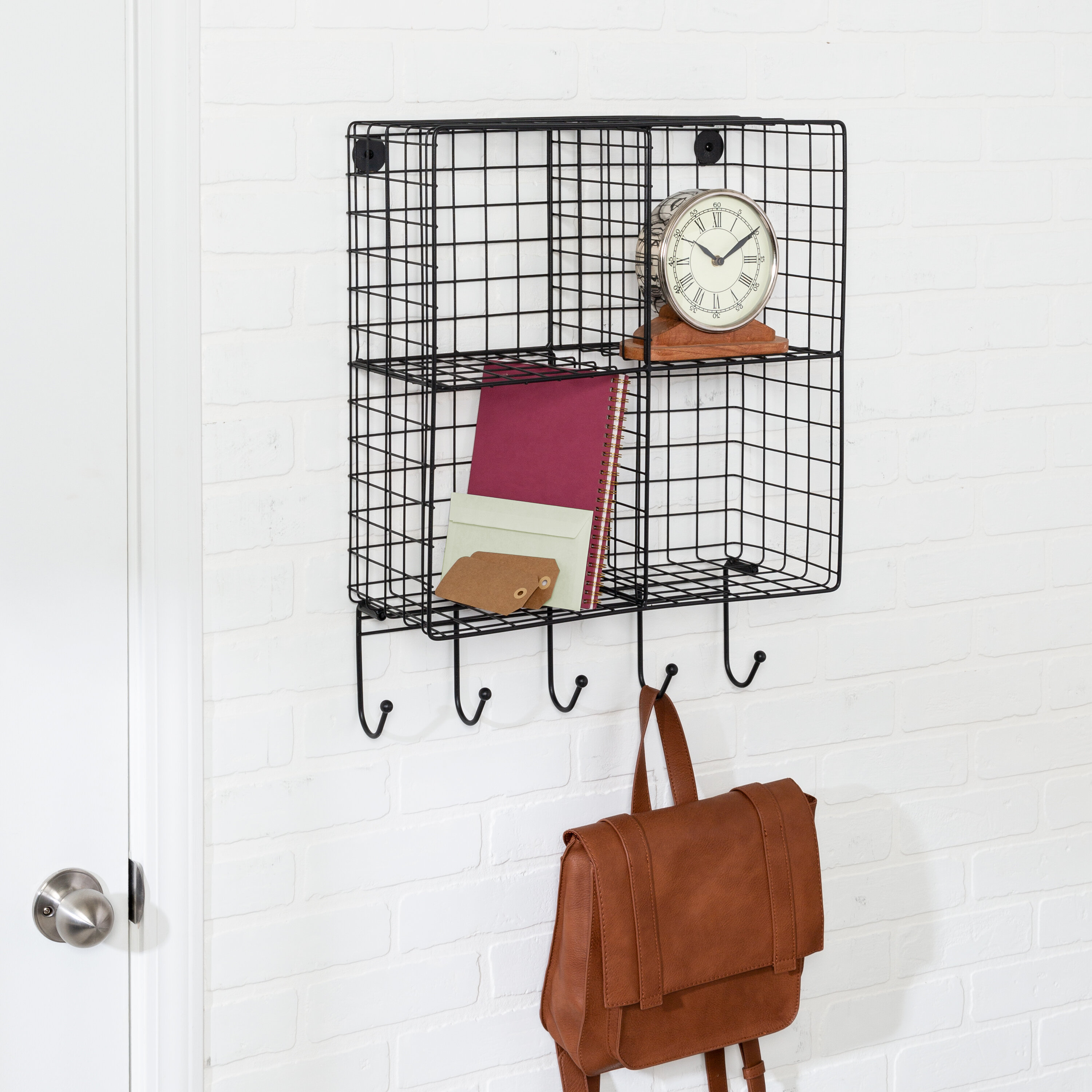 Gracie Oaks Entryway 4 Cubby Key Organizer With Key Hooks And Wall Baskets Reviews Wayfair