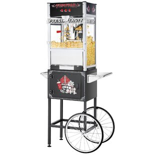 12 Oz. TopStar Black Commercial Quality Popcorn Machine with Cart