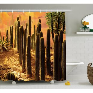 Miara Cactus Sunset Shower Curtain + Hooks by World Menagerie New