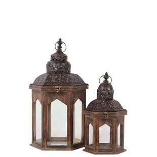 Urban Trends Wood Hexagonal Lantern with Pierced Metal Top, Ring Hanger and Glass Windows Set of Two Weathered Wood Finish