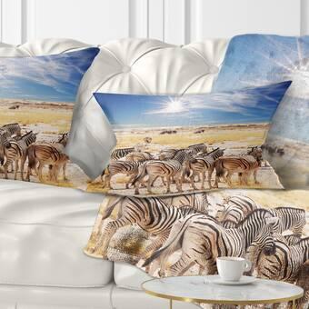 East Urban Home African Herd Of Zebras Pillow Wayfair