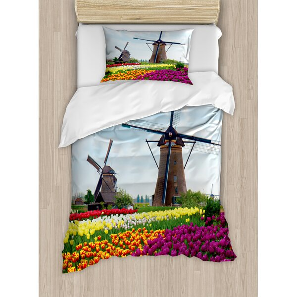 Windmill Bedding Plants of Netherlands Farm Country Heritage Historical Architecture Duvet Set