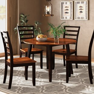 Hidalgo 5 Piece Drop Leaf Solid Wood Breakfast Nook Dining Set