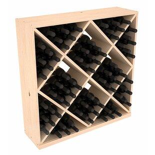 Red Barrel Studio Karnes Pine Diamond Cube 82 Bottle Floor Wine Rack