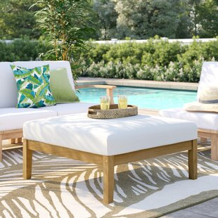 Edmeston Outdoor Teak Ottoman with Cushions
