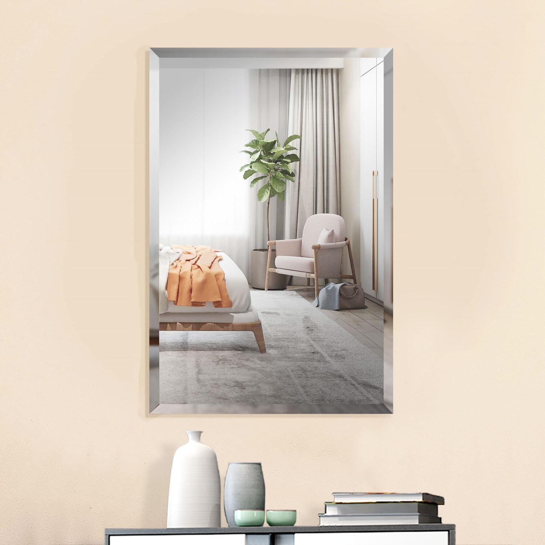 Latitude Run 36 X 24 Inch Large Beveled Rectangular Frameless Wall Mirror With Black Solid Wood Backed Panel Bathroom Vanity Bedroom Mirror Horizonal Vertical Wayfair Ca