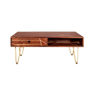 Rosewood Coffee Table With Storage By World Menagerie