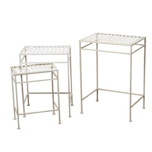 Silver French Country Style 3 Piece Nesting Tables