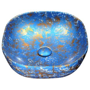 ANZZI Marbled Series Vitreous China Circular Vessel Bathroom Sink