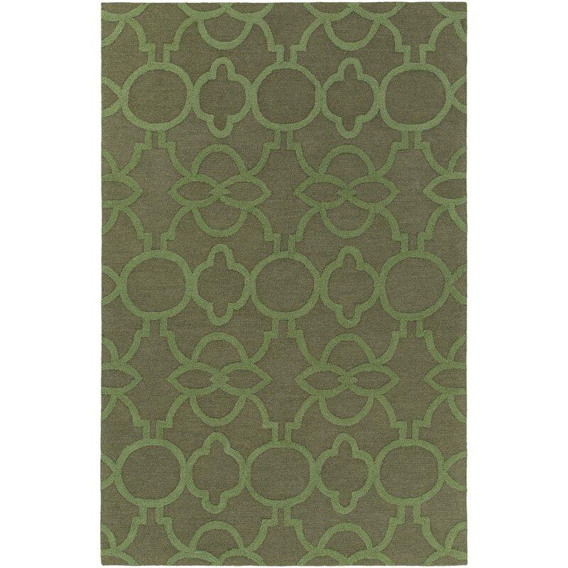 Mercer41 Sandi Geometric Handmade Tufted Green Area Rug Reviews Wayfair