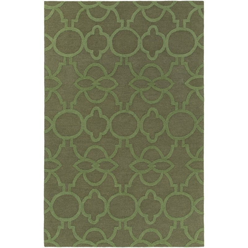 Sandi Hand Crafted Olive Green Area Rug