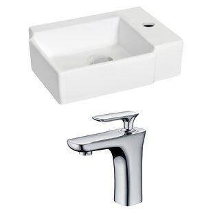 Ceramic 16.25 Wall Mount Bathroom Sink with Faucet ByRoyal Purple Bath Kitchen