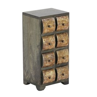 Bloomsbury Market Cincinnatus Rustic Curved Square Paneled 8-Drawer Vertic..