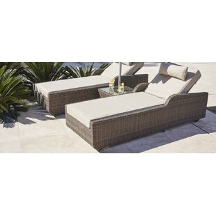 Latitude Run Middaugh Reclining Chaise Lounge with Table