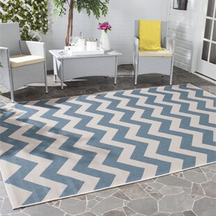Jefferson Place Cotton Blue/Beige Indoor/Outdoor Area Rug