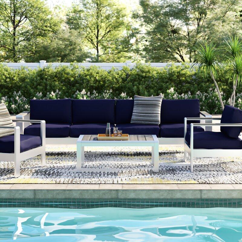 Orren Ellis Coline 4 Piece Sofa Set with Cushions