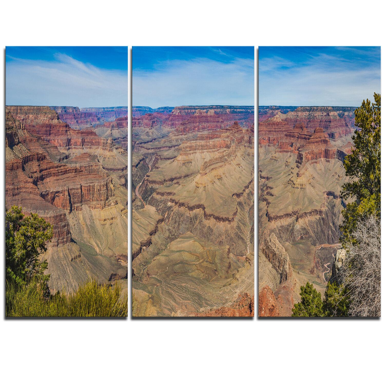 Designart Grand Canyon National Park 3 Piece Graphic Art On Wrapped Canvas Set Wayfair