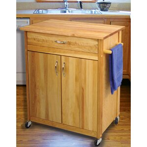 Mid Size Kitchen Cart with Butcher Block ..