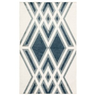 Tasma Geometric White/Blue Indoor/Outdoor Area Rug by Nikki Chu