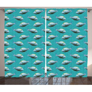 Unicornfish Decor Graphic Print Room Darkening Rod Pocket Curtain Panels (Set of 2) by East Urban Home