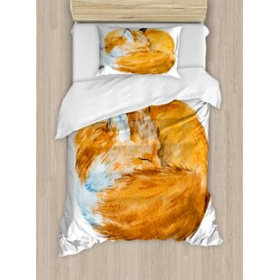 East Urban Home Animal Cute Fox Sleeping Deep Funny Creature Nursery Watercolor Art Design Duvet Set