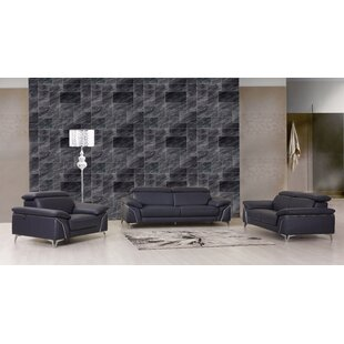 Bierce 3 Piece Leather Living Room Set by Orren Ellis
