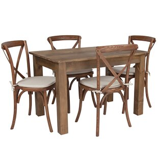 Bronwen Farm 5 Piece Solid Wood Dining Set