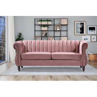Rosdorf Park Earleville Velvet 77 Rolled Arm Sofa Wayfair