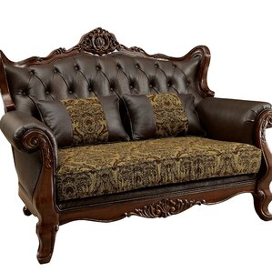 Hankins Traditional Wood Leg Chesterfield Loveseat by Astoria Grand