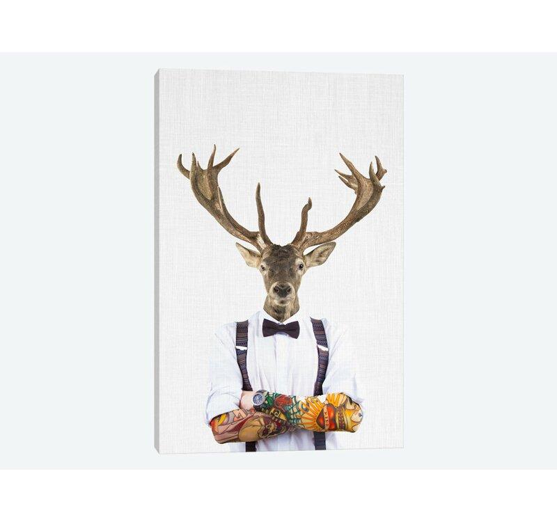 East Urban Home Deer Man Graphic Art Print On Wrapped Canvas Wayfair