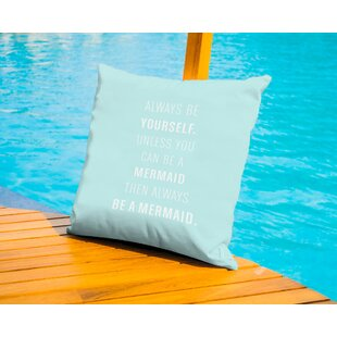 Always Be A Mermaid Outdoor Throw Pillow