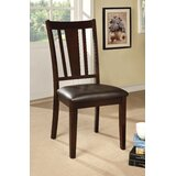 Rushford Leather Upholstered Slat Back Side Chair in Espresso (Set of 2) by Darby Home Co