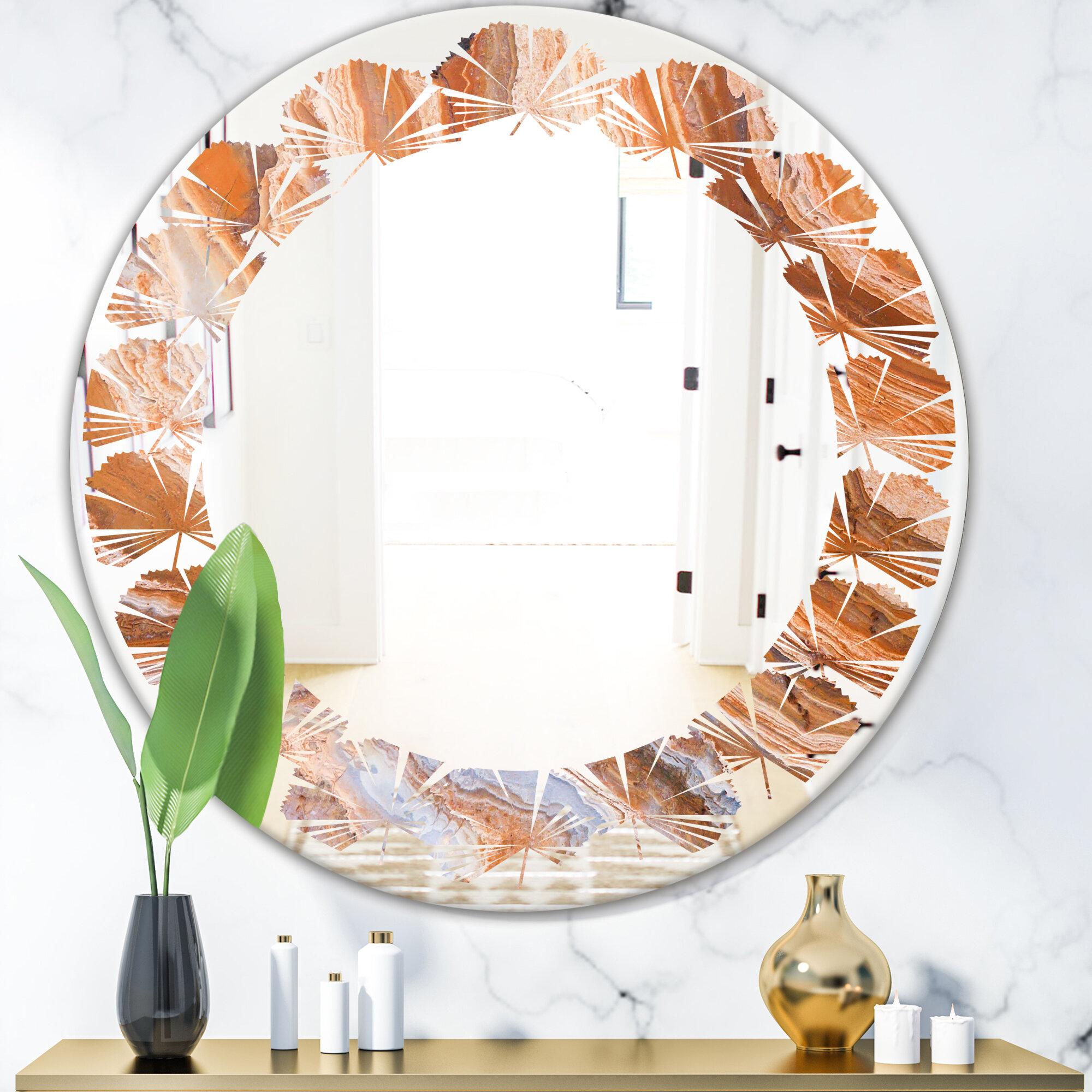 East Urban Home Marbled Geode 2 Leaves Coastal Frameless Wall Mirror