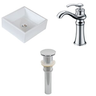 Price Check Ceramic Square Vessel Bathroom Sink with Faucet By American Imaginations