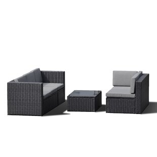 Elsinore 4 Piece Rattan Sectional Seating Group with Cushions