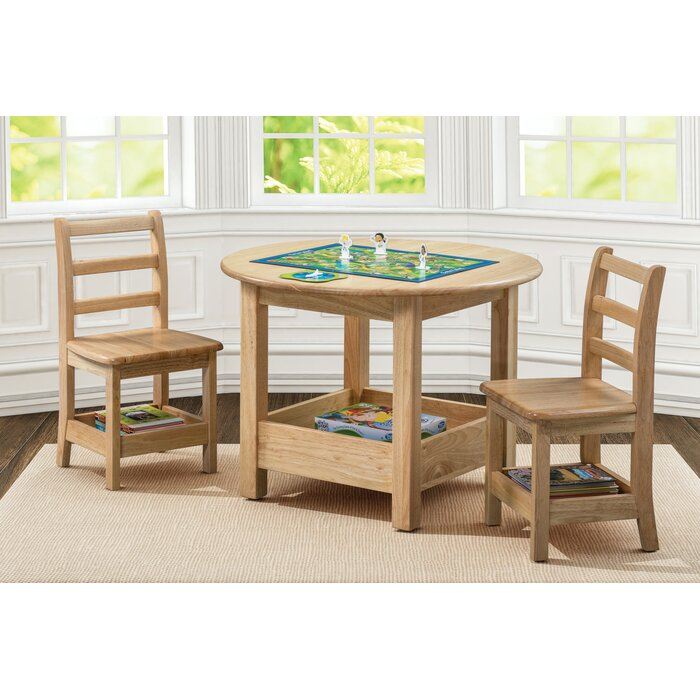 Ecr4kids Sit N Stash Kids 3 Piece Writing Table And Chair Set