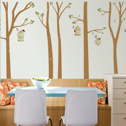 The Decal Guru Bird Cages In Birch Trees Wall Decal Wayfair